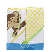 Neat Solutions Monkey 2 Pack Applique/Print Interlock/Knit Terry Hooded Towel Set