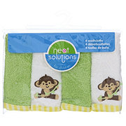 Neat Solutions Monkey 4 Pack Emb/Solid Woven Terry Washcloth Set