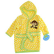 Neat Solutions Monkey Applique/Print Coral Fleece Hooded Bath Rope
