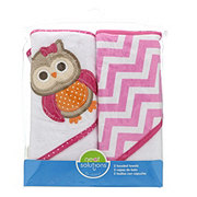 Neat Solutions Owl 2 Pack Applique/Print Interlock/Knit Terry Hooded Towel Set