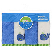 Neat Solutions Whale 4 Pack Emb/Solid Woven Terry Washcloth Set