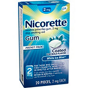Nicorette Gum 2 mg Stop Smoking Aid White Ice Mint