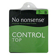 No Nonsense Control Top Pantyhose, Off Black Size B