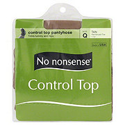 No Nonsense Control Top Pantyhose Reinforced Toe Tan Size Q