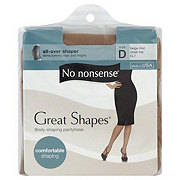 No Nonsense Great Shapes Pantyhose All-Over Shaper Sheer Beige Mist Toe Size D