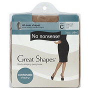 No Nonsense Great Shapes Pantyhose All-Over Shaper Sheer Toe Beige Mist Size C