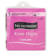 No Nonsense Sheer Toe Tan Knee Highs One Size