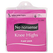 No Nonsense Sheer Toe Tan Knee Highs Size Q