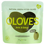 Oloves Tasty Mediterranean Pitted Green Olives with Basil & Garlic