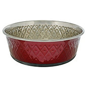 Our Pets Embossed Bowl Stainless Steel Marsala