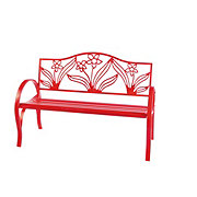 Outdoor Solutions Red Flower Bench