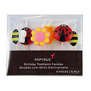 Papyrus Flowers & Ladybugs Birthday Toothpick Candles