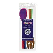 Party Essentials Brights Serving Fork and Spoon, Assorted Neon Colors