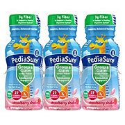 PediaSure Grow & Gain with Fiber Kids' Ready-to-Drink Strawberry Nutritional Shake 6 pk