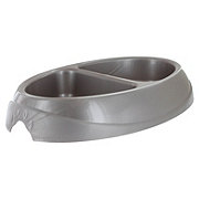 Petmate 1 Cup Pet Double Diner Silver