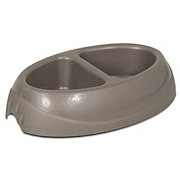 Petmate Ultra 2.5 Cup Double Diner Pet Dish Gray