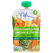 Plum Organics Stage 3 Carrot Sweet Potato Corn Pea & Chicken with Quinoa Celery & Leek Baby Food Pouch