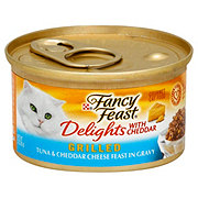 Purina Fancy Feast Delights with Cheddar Tuna and Cheddar Cheese Feast in Gravy Grilled Gourmet Cat Food