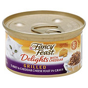 Purina Fancy Feast Delights with Cheddar Turkey and Cheddar Cheese Feast in Gravy Grilled Gourmet Cat Food
