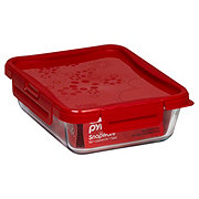 Pyrex 4-Lock 6 Cup Rectangle Storage Container with Red Lid