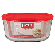 Pyrex Simply Store 4 Cup Round Dish with Red Lid 5.6x2.5 in