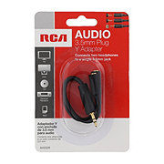 RCA 3.5 mm Plug Y Adapter Two Headphones To Single Jack