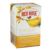 Red Rose Energize Peach Lily Blossom Herbal Wellness Tea