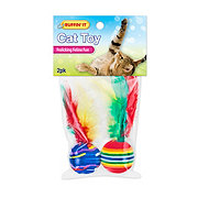 Ruffin' It Feathered Foam Balls Cat Toy, Colors Vary