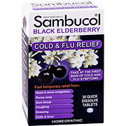 Sambucol Black Elderberry Cold & Flu Symptom Relief Quick Dissolve Tablets