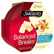 Sargento Balanced Breaks Natural sharp white cheddar cheese, sea salted cashews & golden raisin medley.