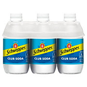 Schweppes Club Soda 6 PK Glass Bottles