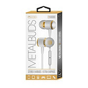 Sentry Metal Earbuds Mic White Gold
