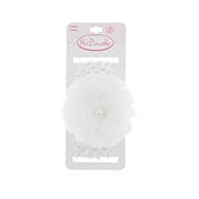 Shalom So'Dorable White Lace Overlay Pearl Headwrap