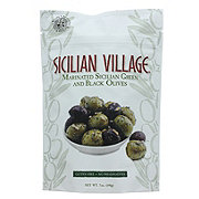 Sicilian Village Marinated Green and Black Olives
