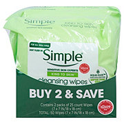 Simple Kind to Skin Cleansing Facial Wipes Twin Pack