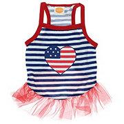 SimplyDog Heart Flag American Tutu Dress XS