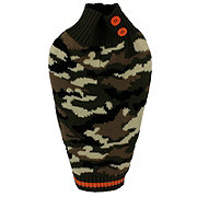 SimplyDog Olive Camo Orange Button Sweater XS