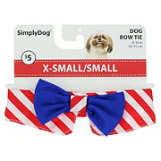 SimplyDog Red Striped Navy Bow Tie XS/S