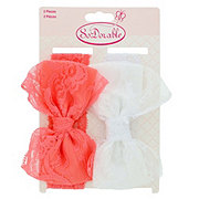 So Dorable Lace Bow Headwrap White/Coral