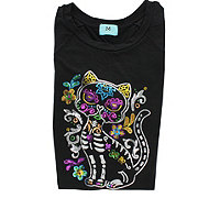 South Main Day Of The Dead Sequin Cat Raglan Three Quarter Large Tee