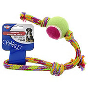 Spot Rainbow Crinkler Tug with Tennis Ball Rope Dog Toy