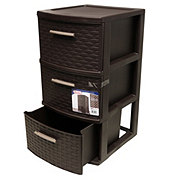 Sterilite Medium 3 Drawer Weave Tower, Espresso