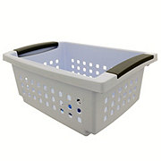 Sterilite Small White with Grey Handles Stacking Basket