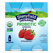 Stonyfield Organic Low-Fat Strawberry Probiotic Smoothie 6 oz Bottles