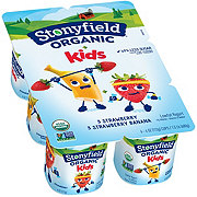 Stonyfield YoKidsOrganic Low-Fat Strawberry & Strawberry Banana Yogurt