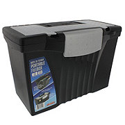 Storex Black Letter/Legal Portable File Storage Box with Organizer Lid