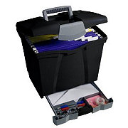 Storex Black Letter Portable File Storage Box with Drawer