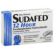 Sudafed 12 Hour Long-Acting Nasal Decongestant 120 mg Coated Caplets, 20 CT