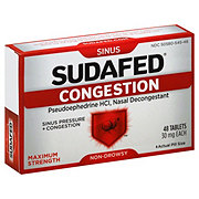 Sudafed Maximum Strength Nasal Decongestant 30 mg Tablets