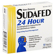 Sudafed Non-Drowsy 24 Hour 240 mg Long-Acting Nasal Decongestant Extended-Release Tablets